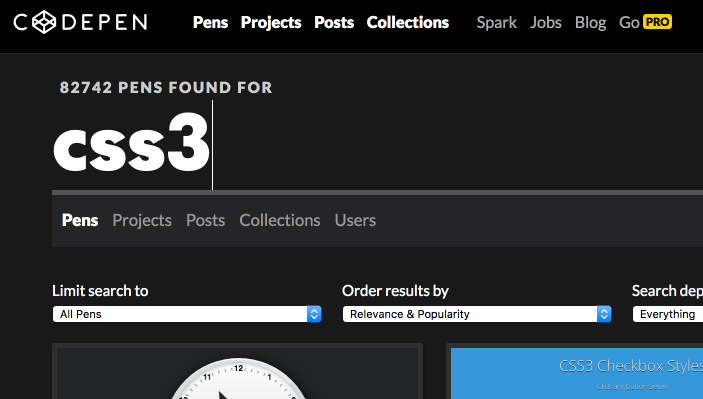 Codepen.io für HTML5, CSS3 und JavaScript Beispiele