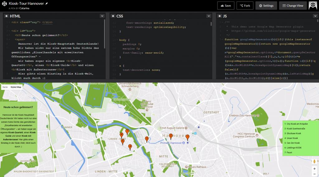Screenshot aus Codepen: Pen zur Kiosktour in Hannover