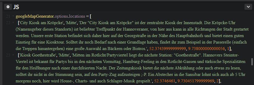 Screenshot - Beschreibung und Koordinaten von 2 Zwischenstopps