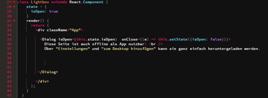 Codeausschnitt der Lightbox