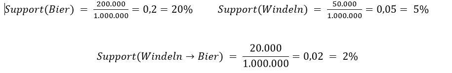 Support Windeln Bier Warenkorbanalyse