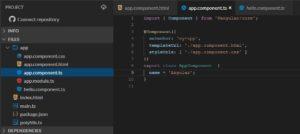 Hello World Aufbau von Angular