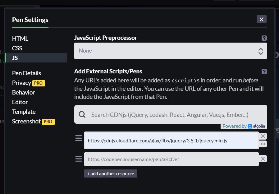 Eigene Abbildung: Bei Codepen JQuery importieren