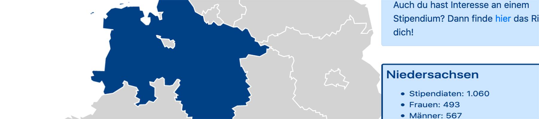 Interaktive Karte: Stipendiaten an Hochschulen